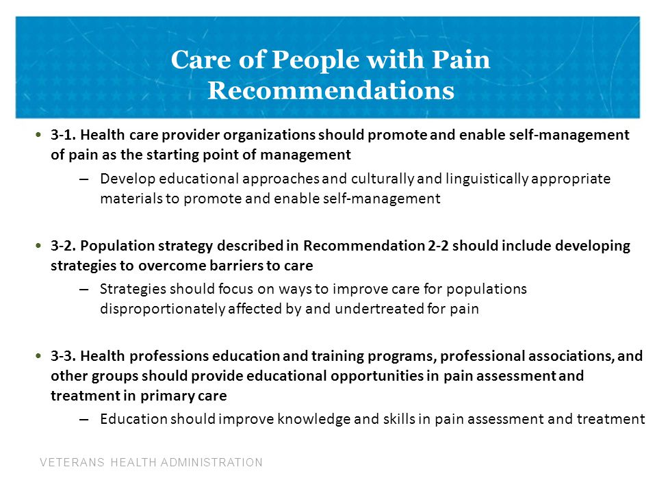 Care of People with Pain Recommendations