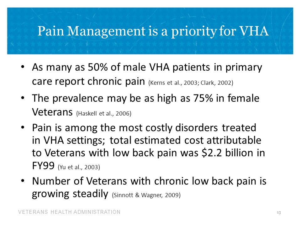 Pain Management is a priority for VHA