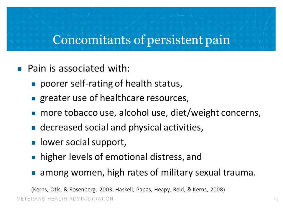 Concomitants of persistent pain