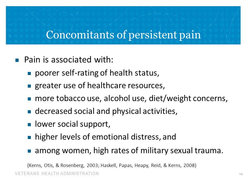Concomitants of persistent pain