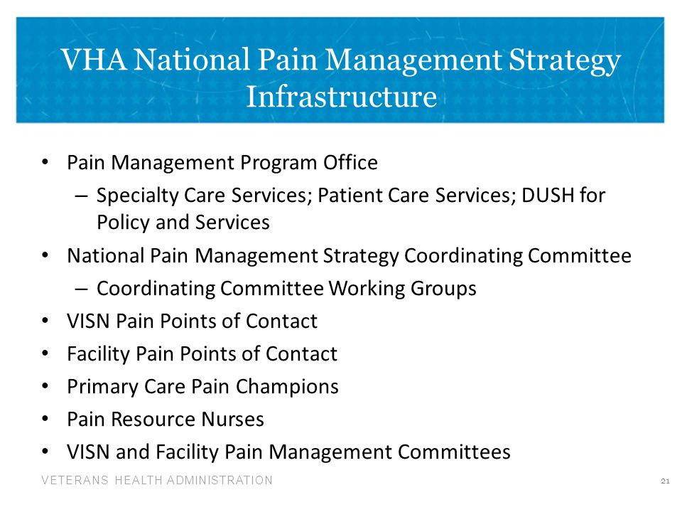 VHA National Pain Management Strategy Infrastructure