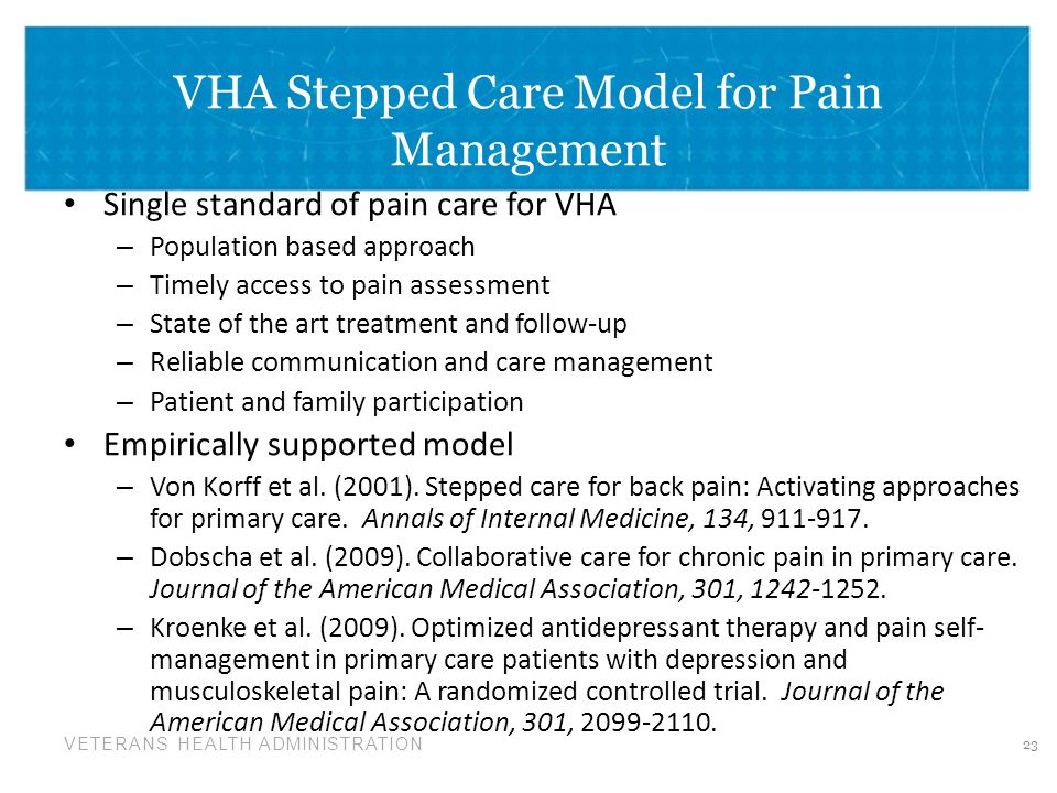 VHA Stepped Care Model for Pain Management