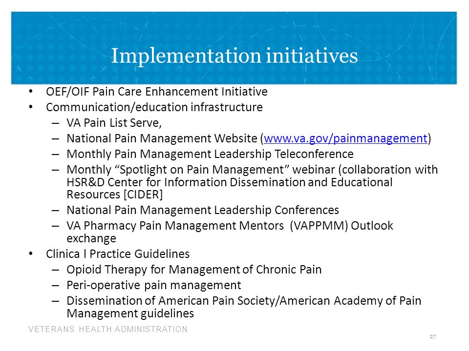 Implementation initiatives