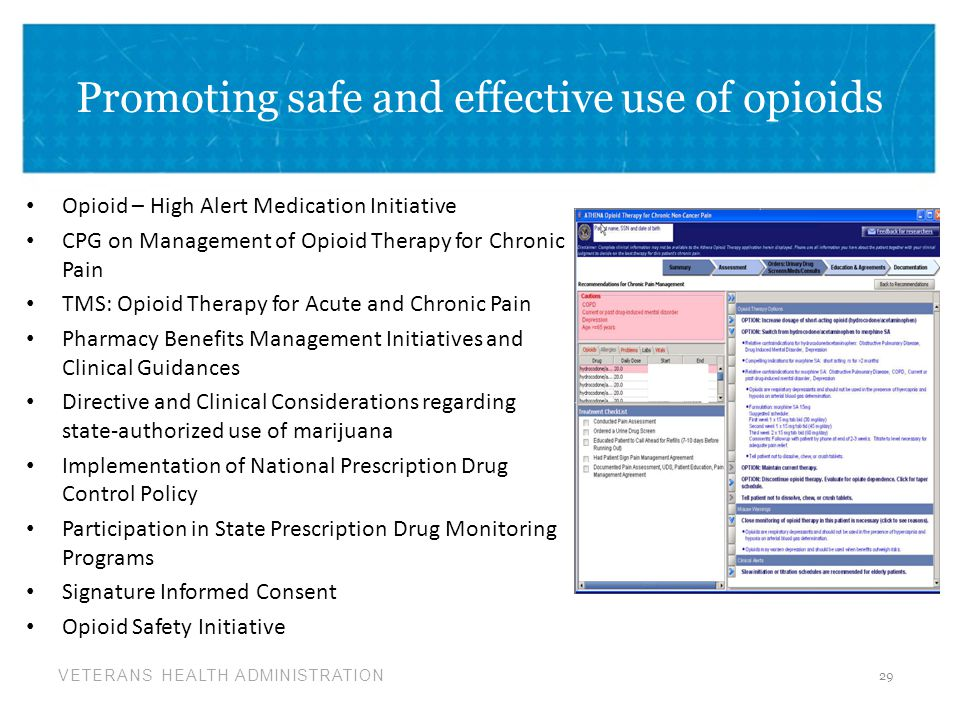Promoting safe and effective use of opioids
