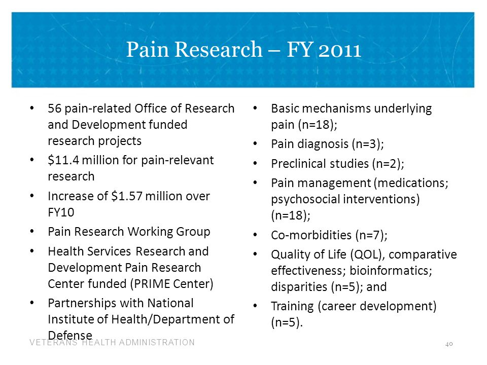 Pain Research – FY 2011 56 pain-related Office of Research and Development funded research projects.