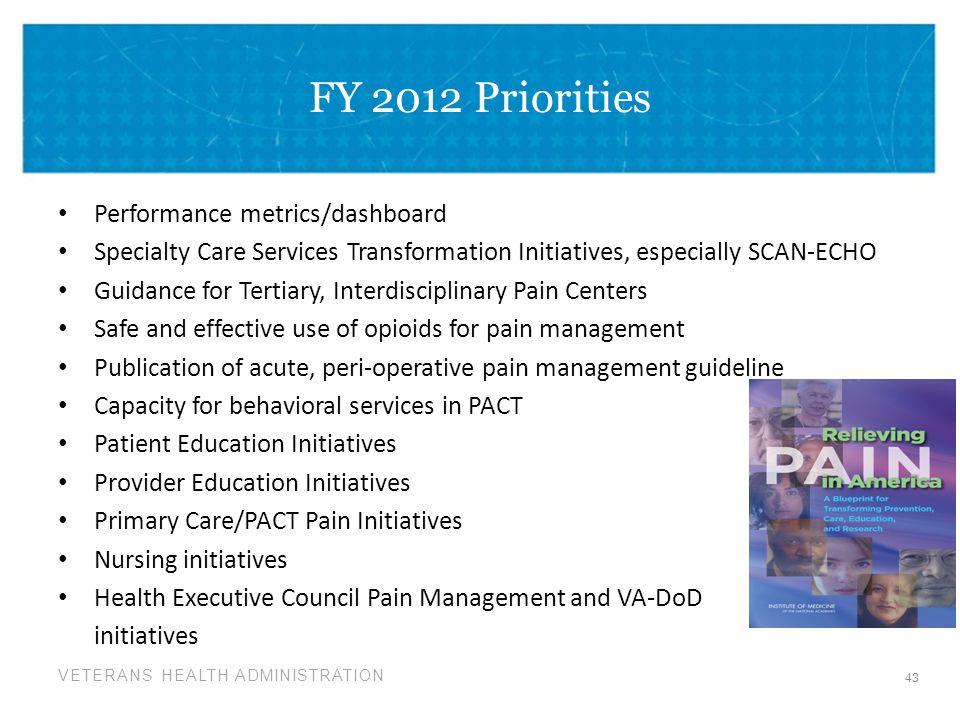 FY 2012 Priorities Performance metrics/dashboard