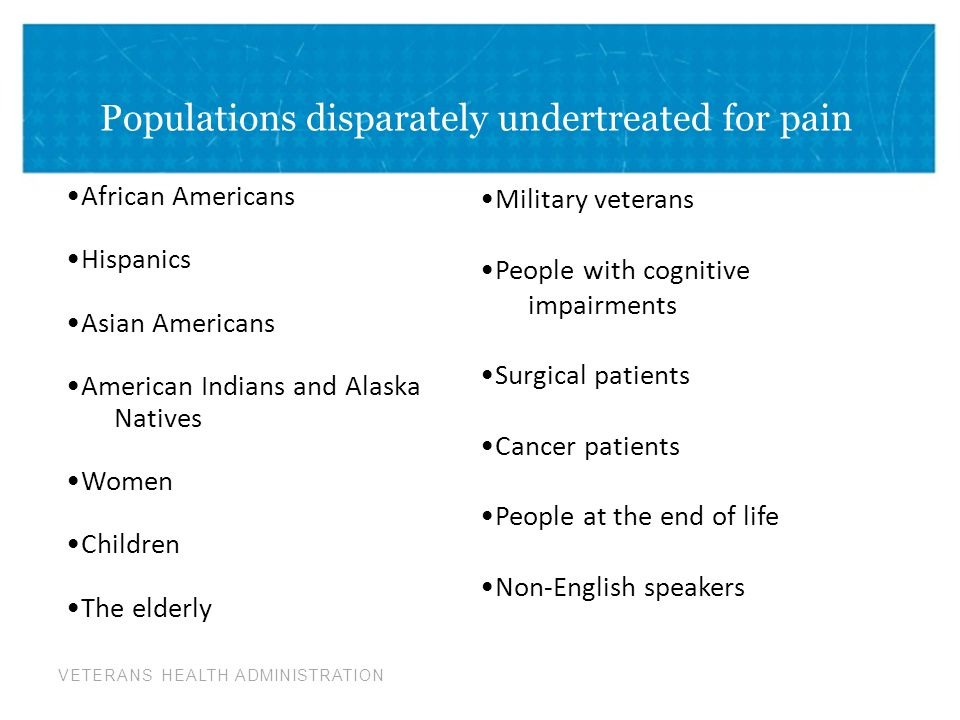 Populations disparately undertreated for pain
