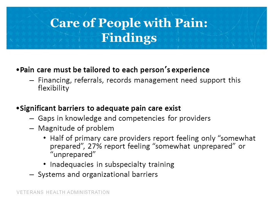 Care of People with Pain: Findings