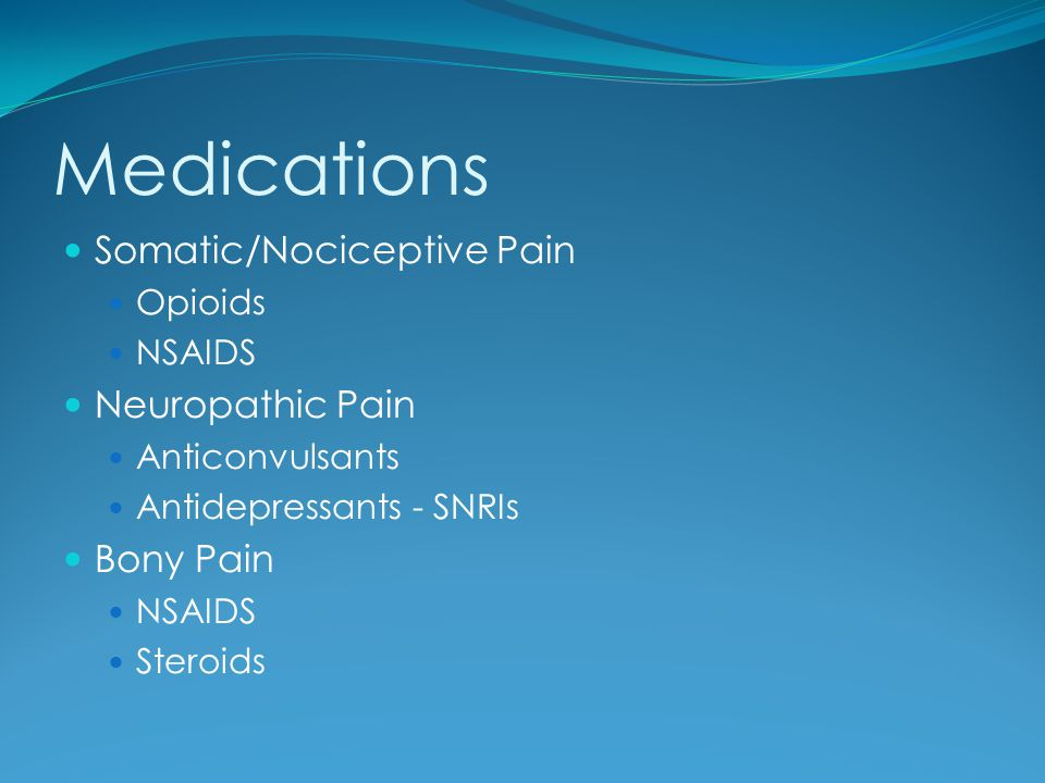 Medications Somatic/Nociceptive Pain Neuropathic Pain Bony Pain
