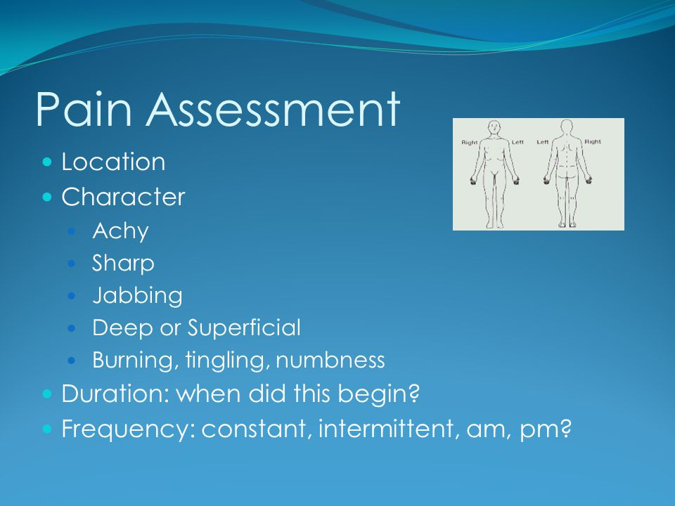 Pain Assessment Location Character Duration: when did this begin