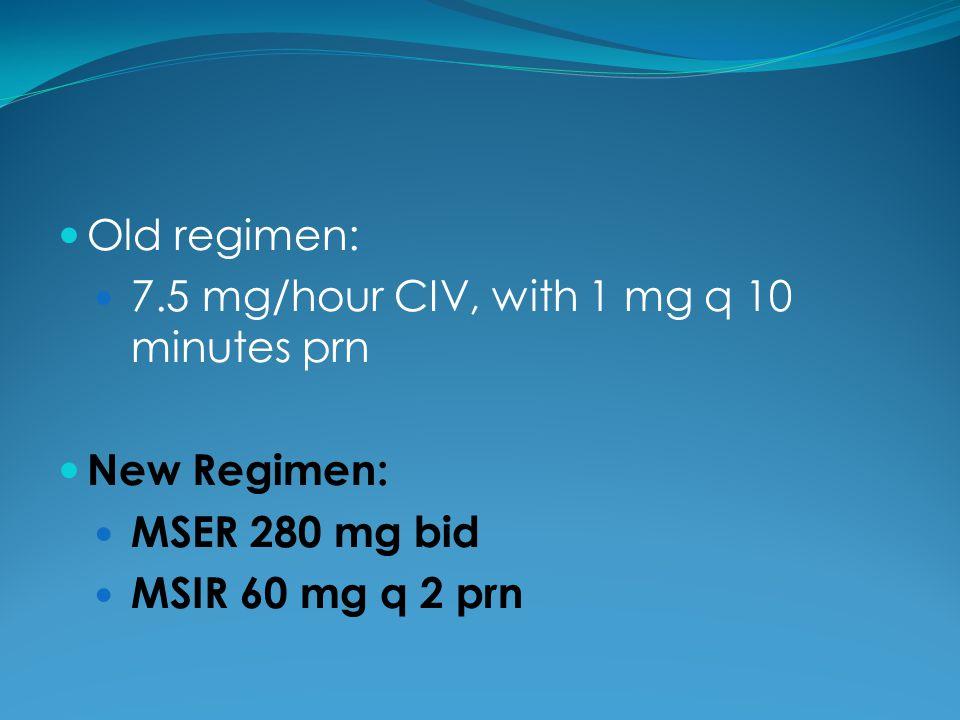 Old regimen: 7.5 mg/hour CIV, with 1 mg q 10 minutes prn.