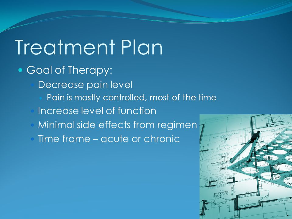 Treatment Plan Goal of Therapy: Decrease pain level