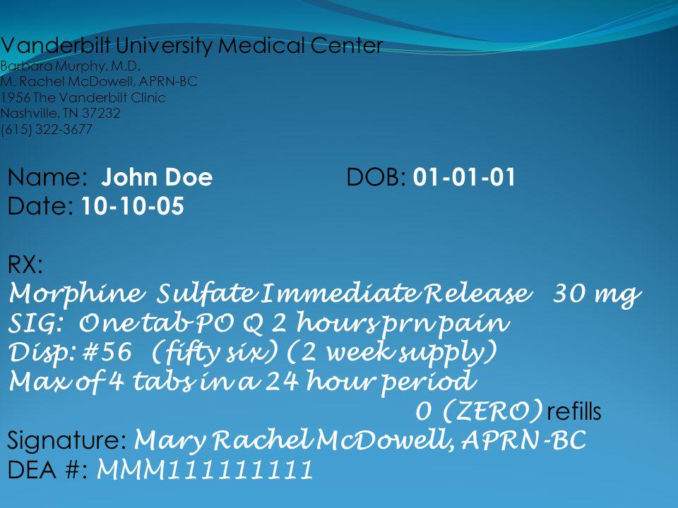 Morphine Sulfate Immediate Release 30 mg