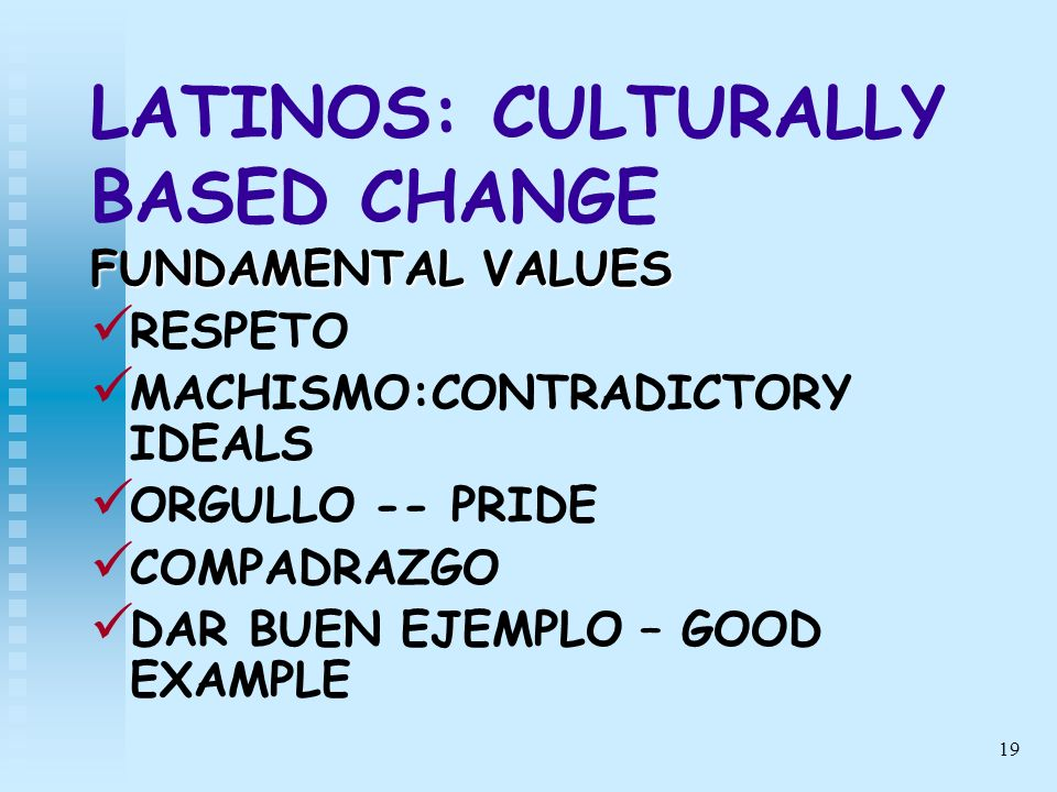 LATINOS: CULTURALLY BASED CHANGE