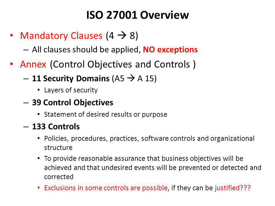 ISO 27001 Overview Mandatory Clauses (4  8)