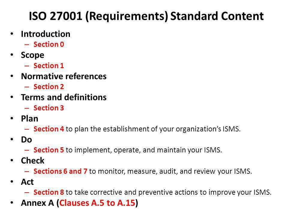 ISO (Requirements) Standard Content