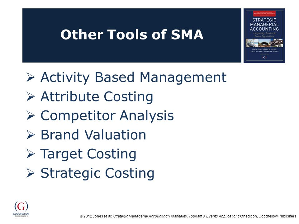 Other Tools of SMA Activity Based Management. Attribute Costing. Competitor Analysis. Brand Valuation.