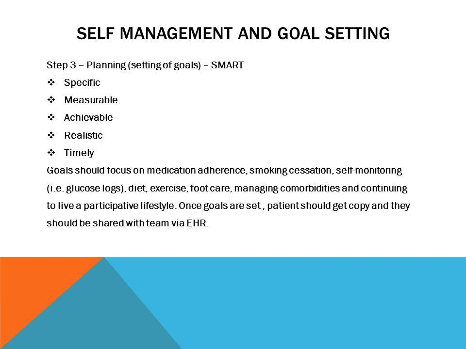 Self Management and goal setting