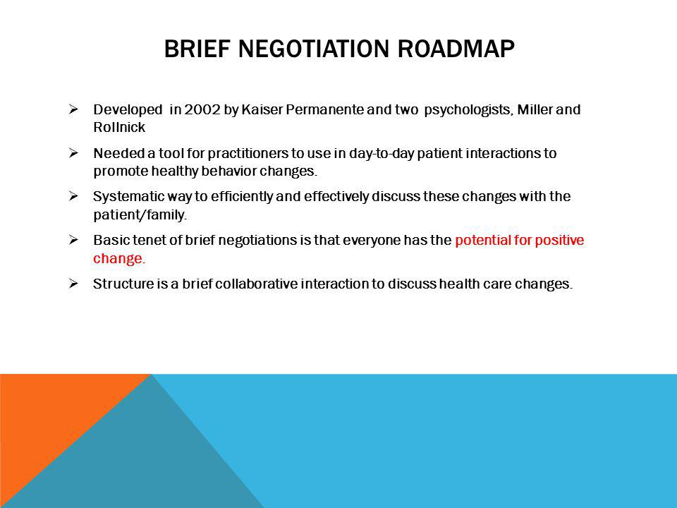 Brief Negotiation Roadmap