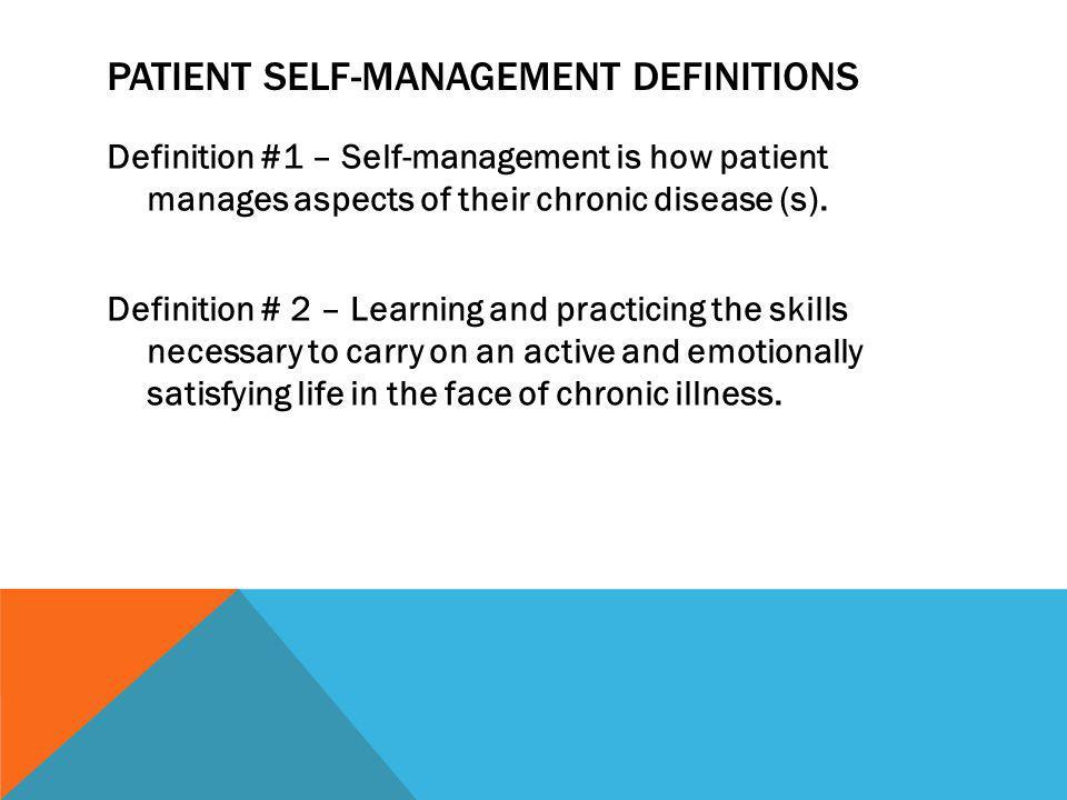 Patient self-management Definitions