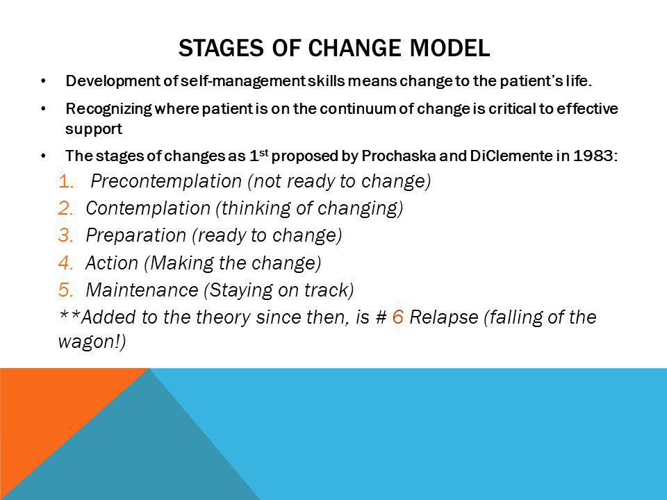 Stages of change model Precontemplation (not ready to change)