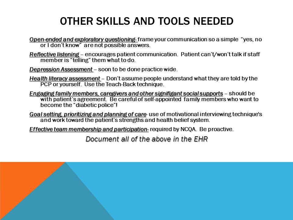 Other Skills and tools needed