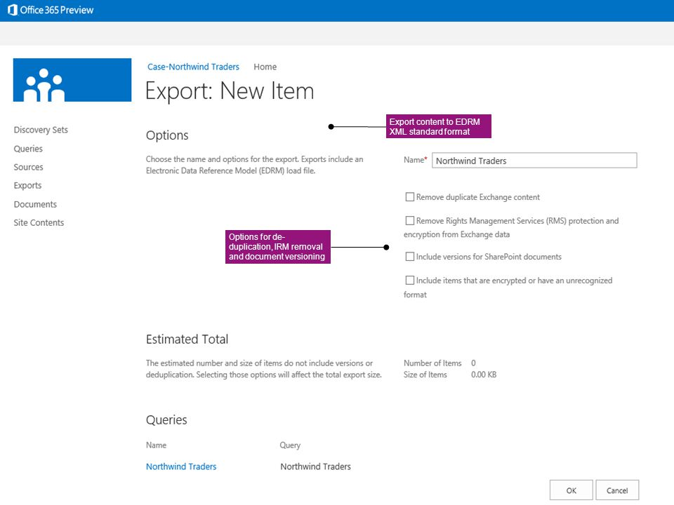 Export content to EDRM XML standard format