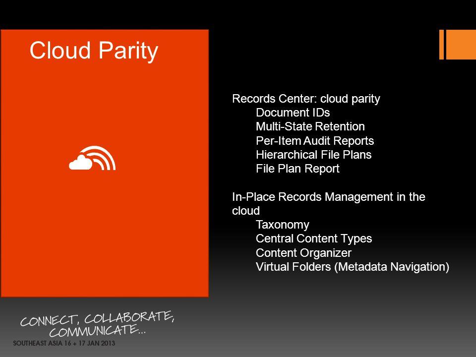 Cloud Parity Records Center: cloud parity Document IDs