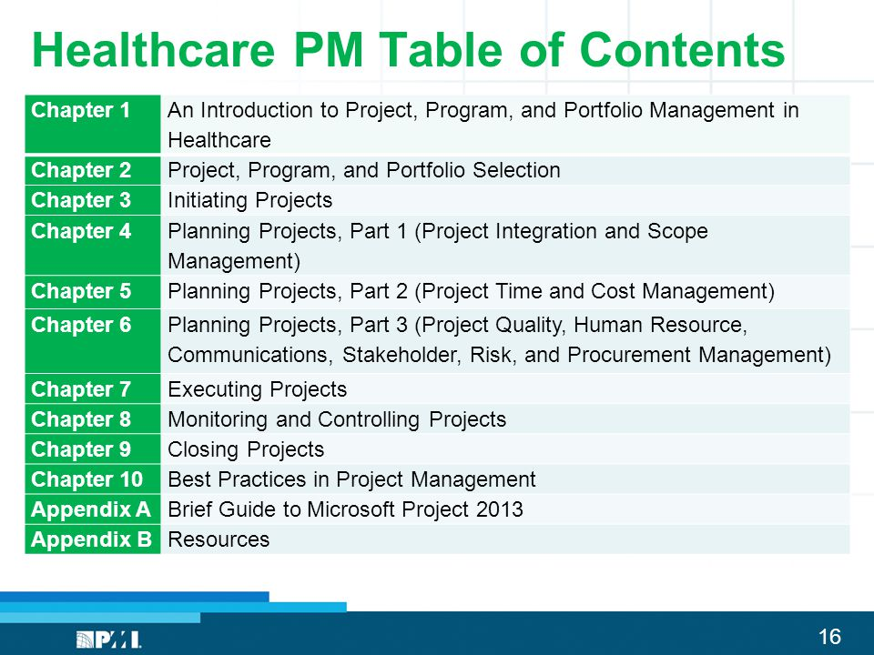 Healthcare PM Table of Contents