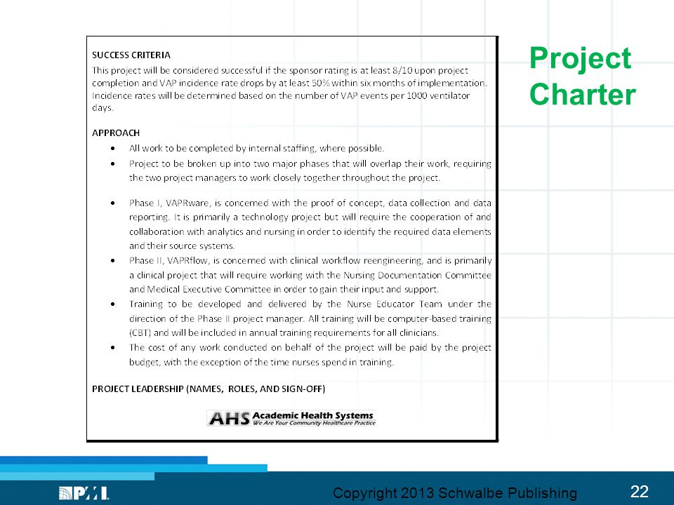 Project Charter Copyright 2013 Schwalbe Publishing