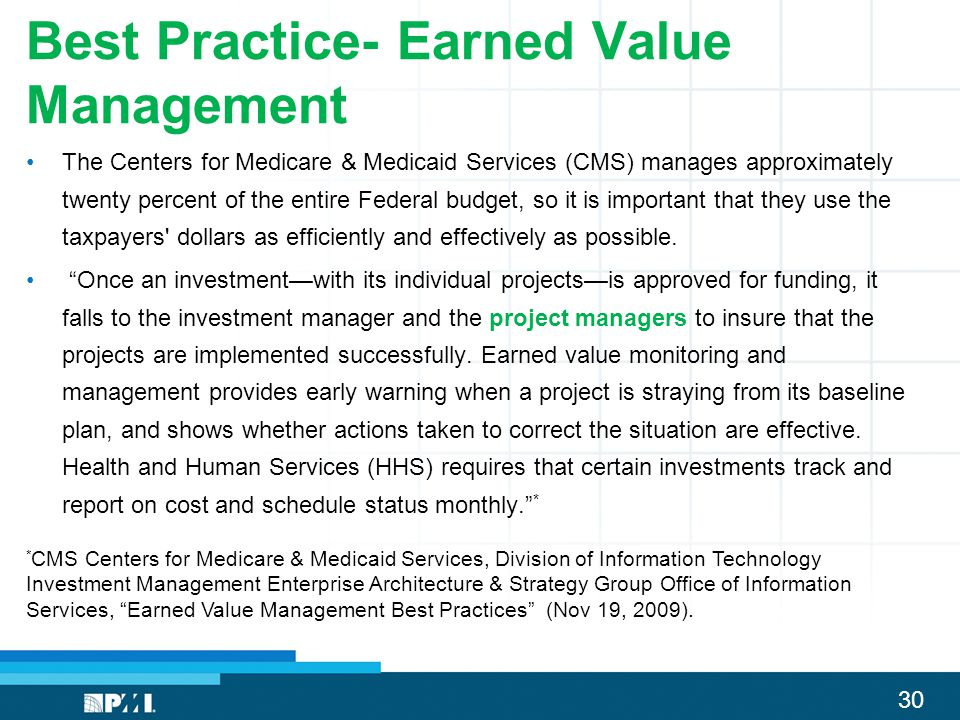 Best Practice- Earned Value Management