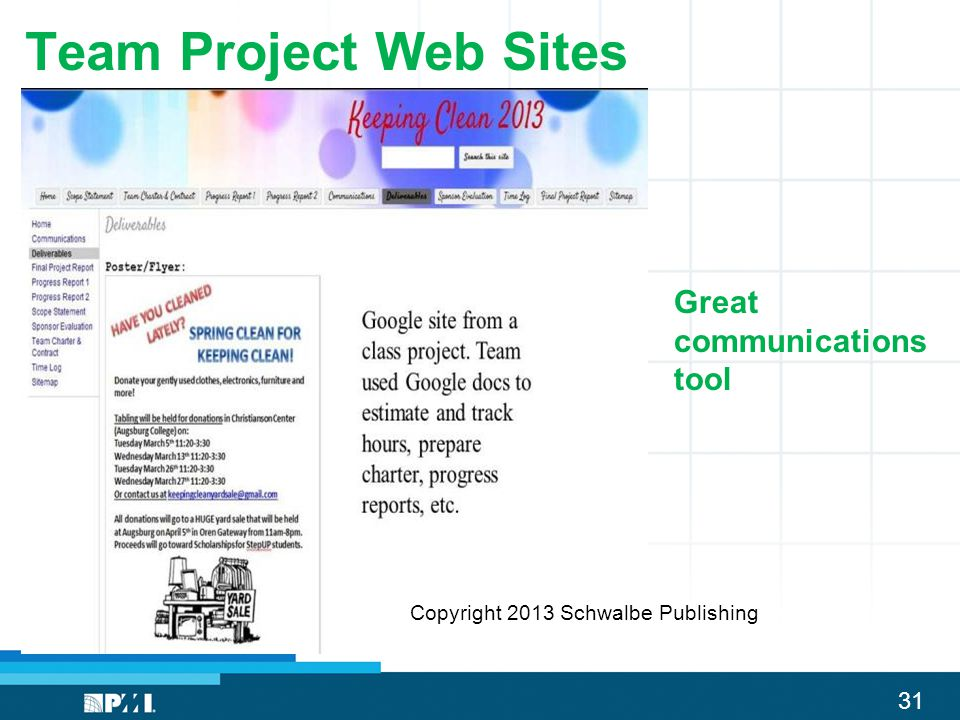 Team Project Web Sites Great communications tool