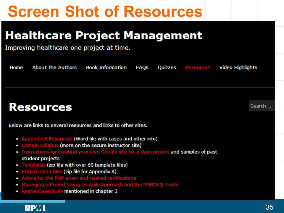 Screen Shot of Resources