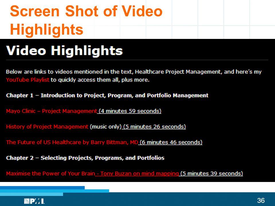 Screen Shot of Video Highlights