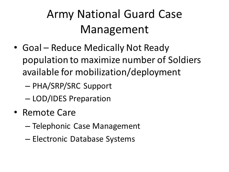Army National Guard Case Management