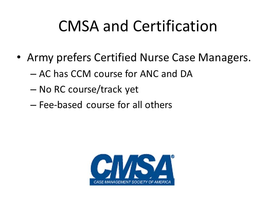 CMSA and Certification