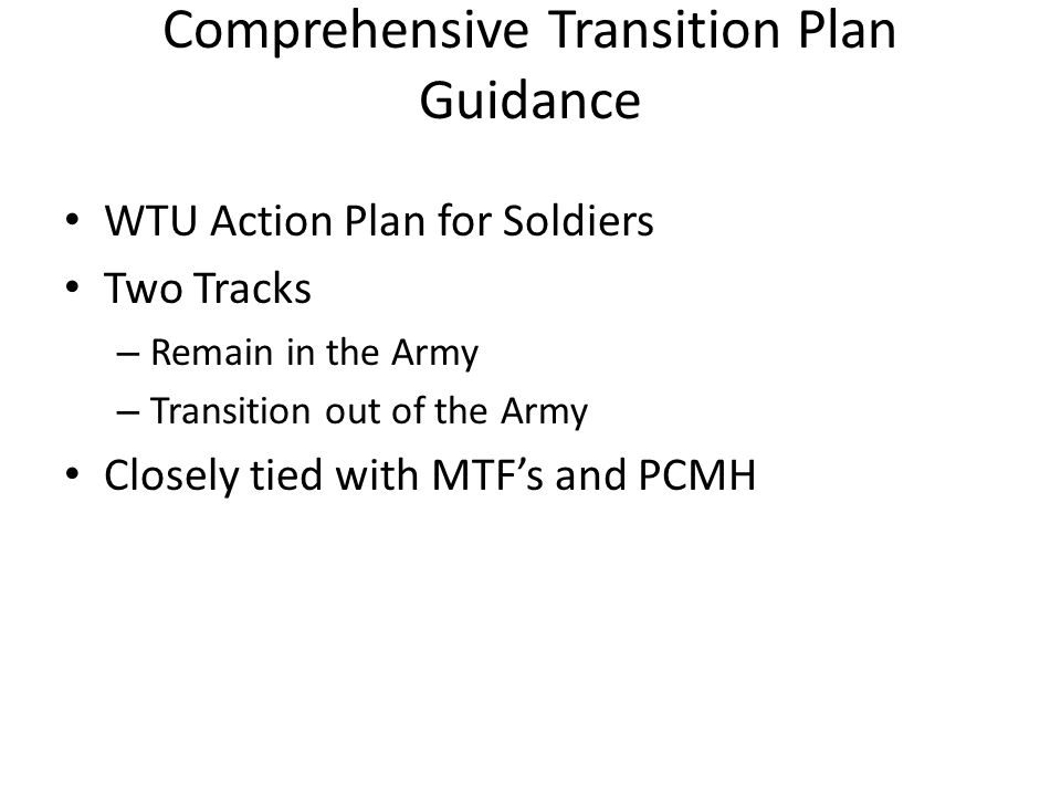 Comprehensive Transition Plan Guidance