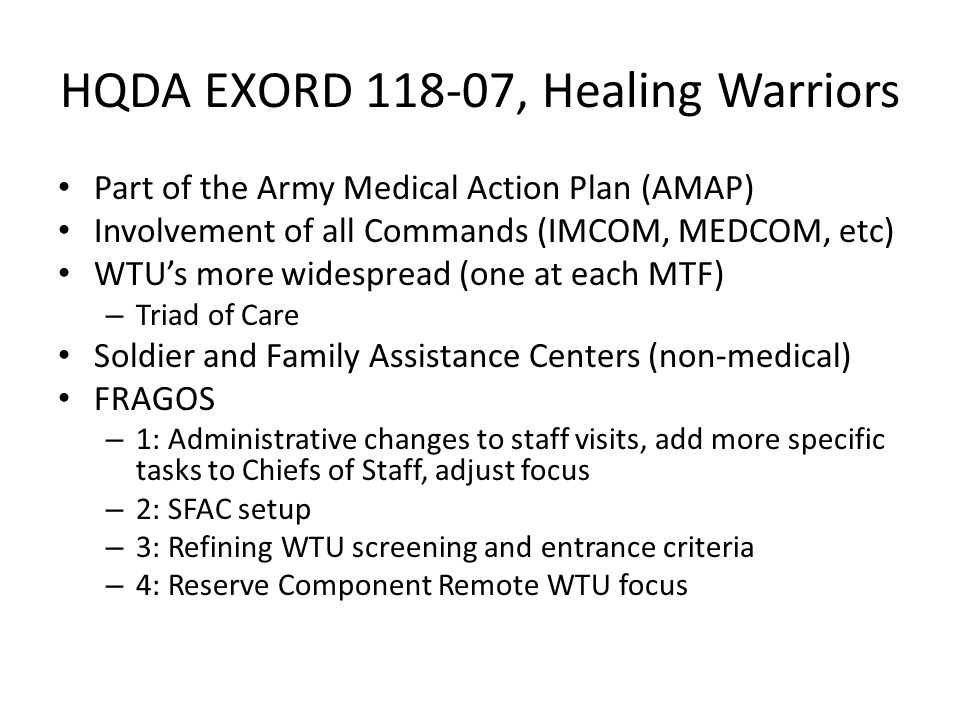 HQDA EXORD 118-07, Healing Warriors