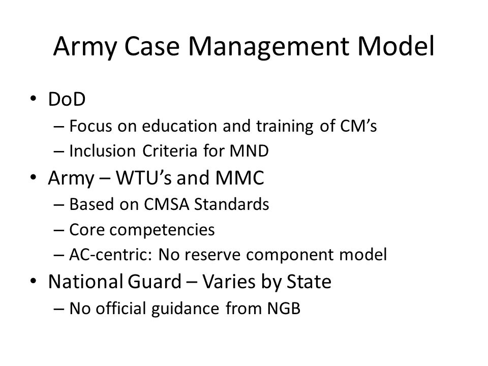 Army Case Management Model