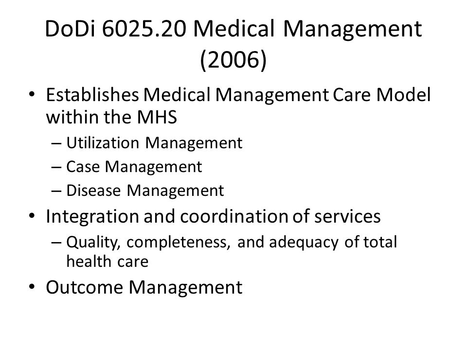 DoDi 6025.20 Medical Management (2006)
