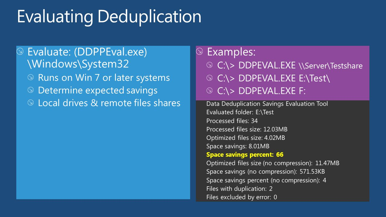 Evaluating Deduplication