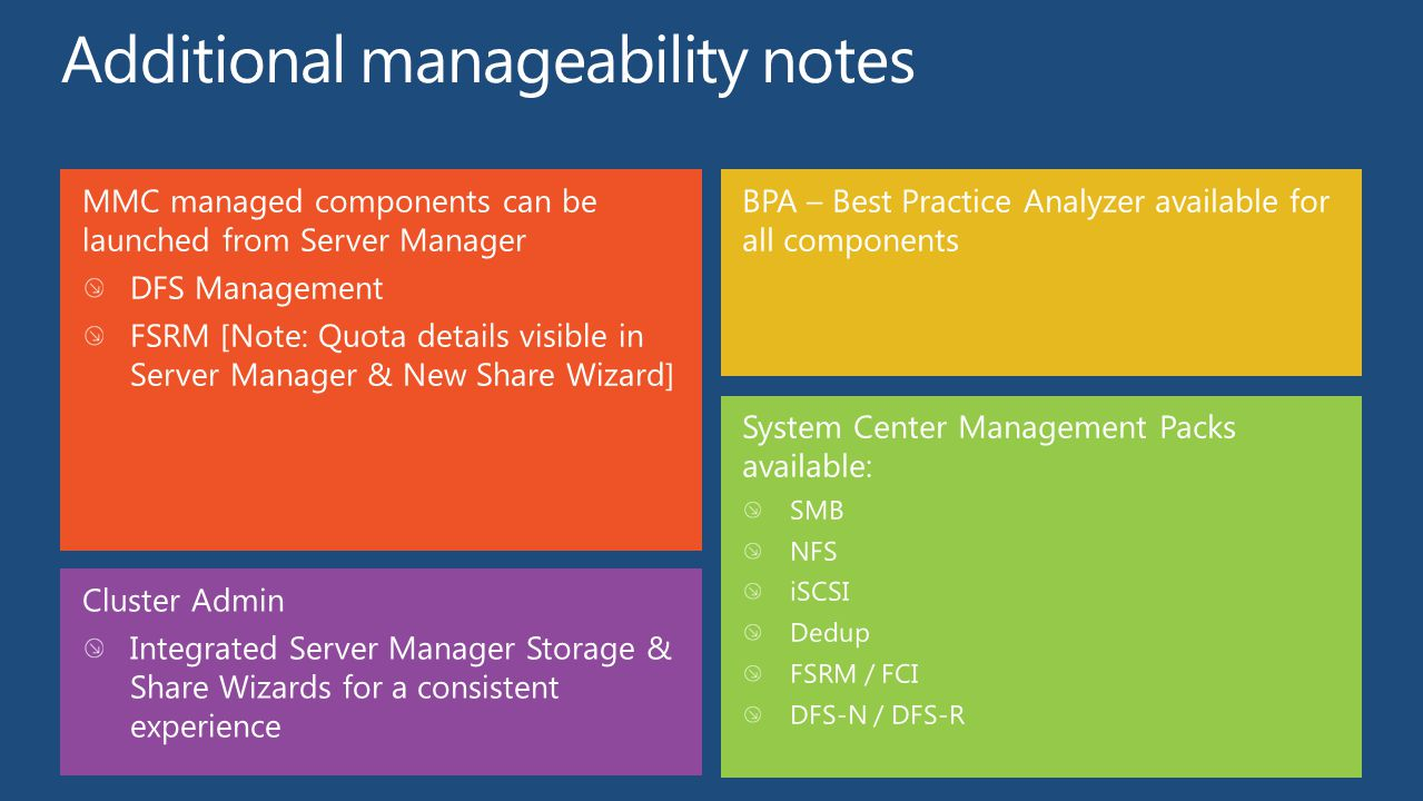 Additional manageability notes
