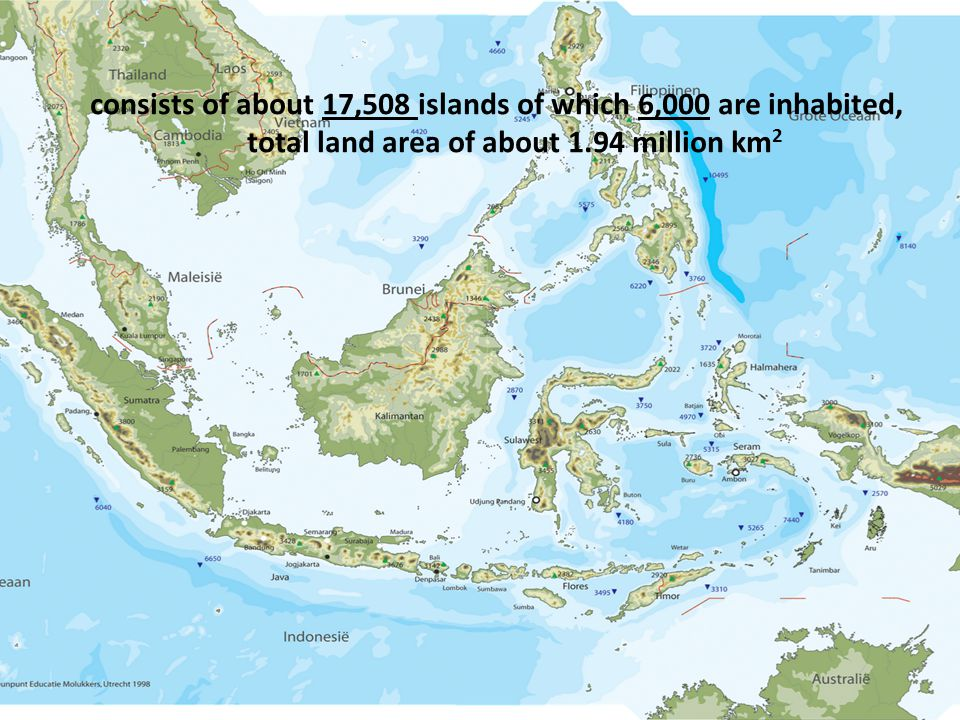 consists of about 17,508 islands of which 6,000 are inhabited, total land area of about 1.94 million km2