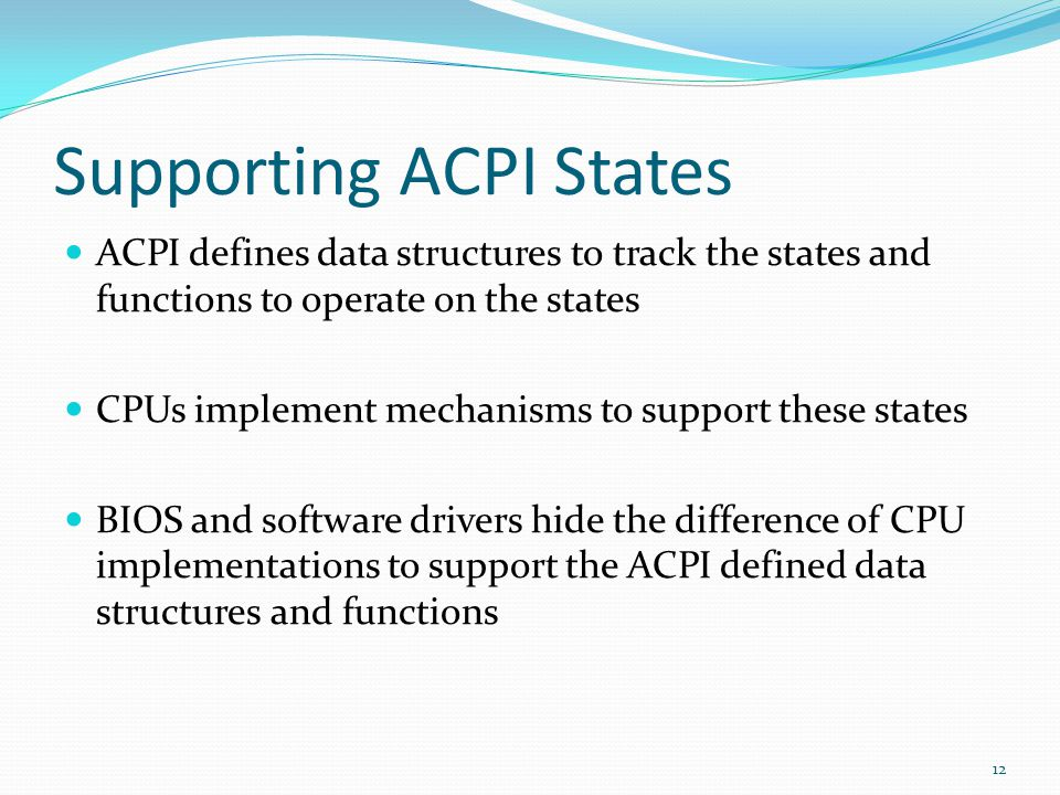 Supporting ACPI States