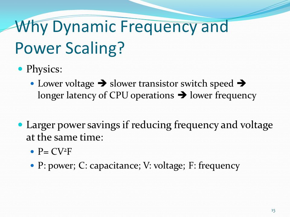 Why Dynamic Frequency and Power Scaling