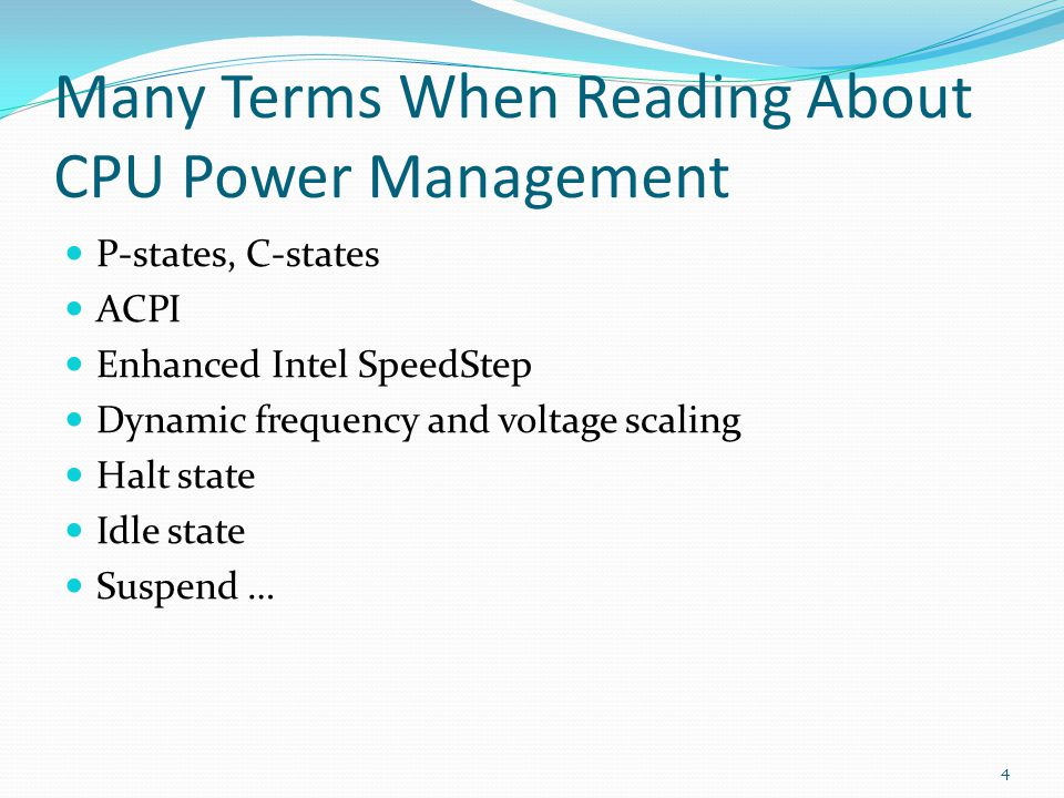 Many Terms When Reading About CPU Power Management