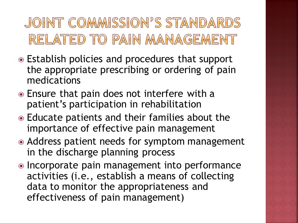 Joint Commission's standards related to pain Management