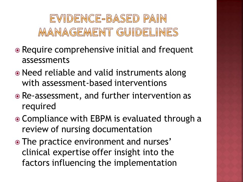 Evidence-based pain management guidelines