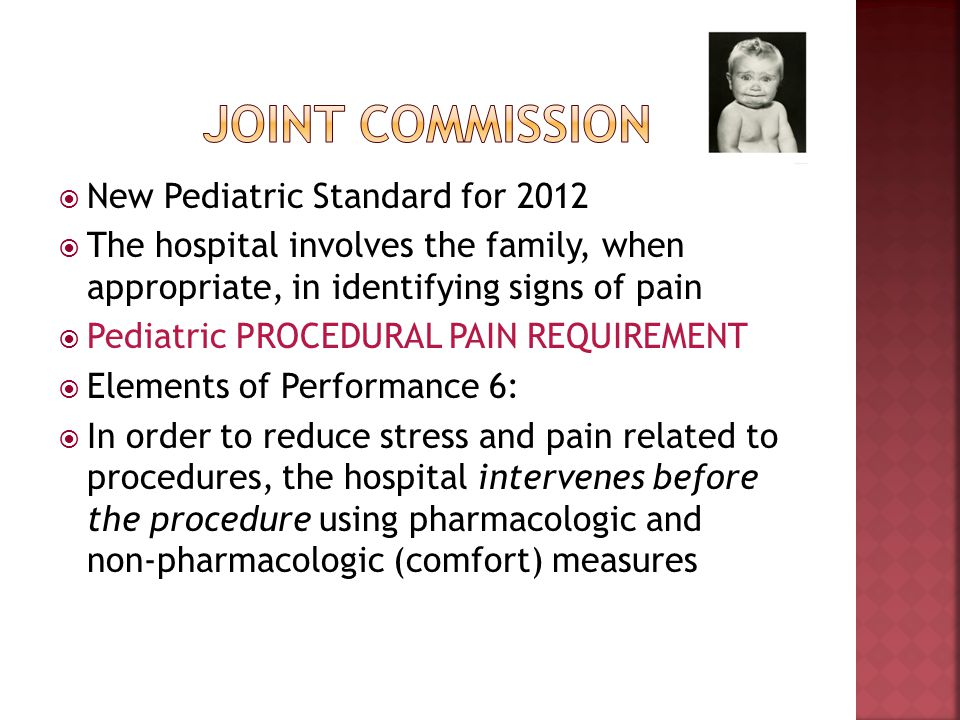 Joint commission New Pediatric Standard for 2012