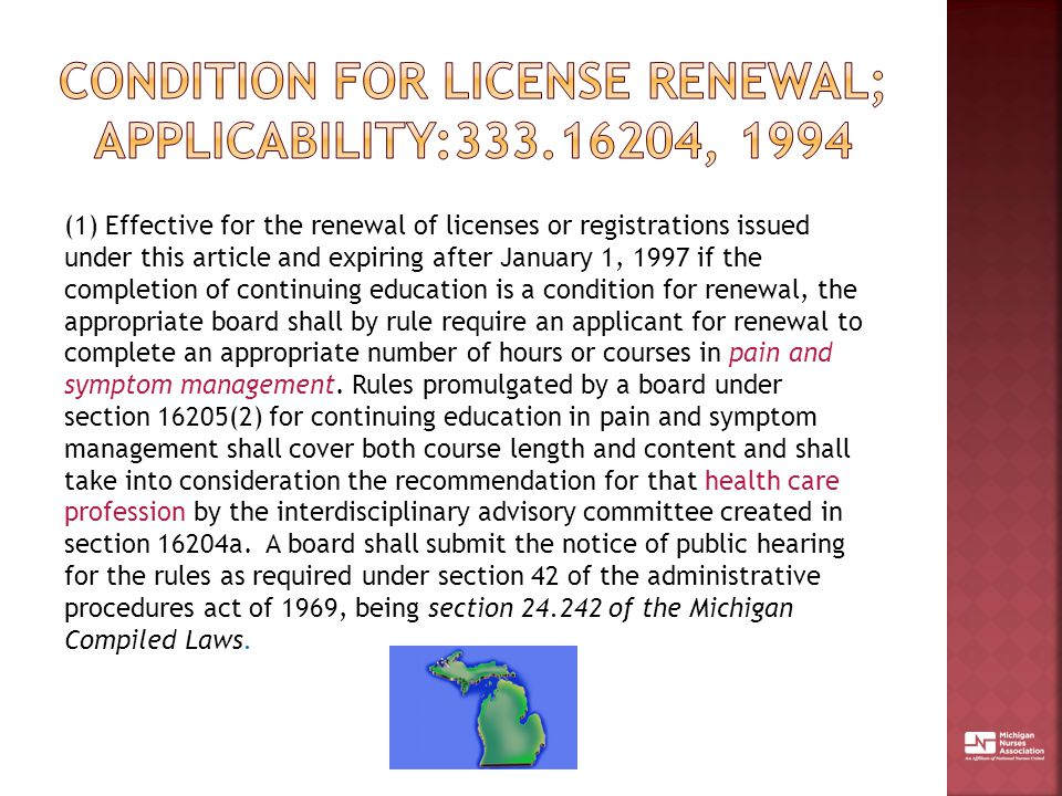 condition for license renewal; applicability:333.16204, 1994